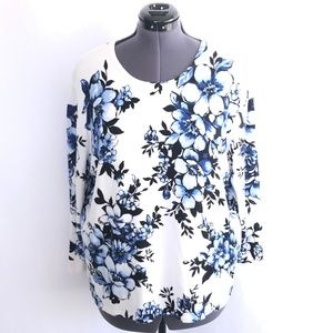 Alfred Dunner Blue & White Floral Blouse Top